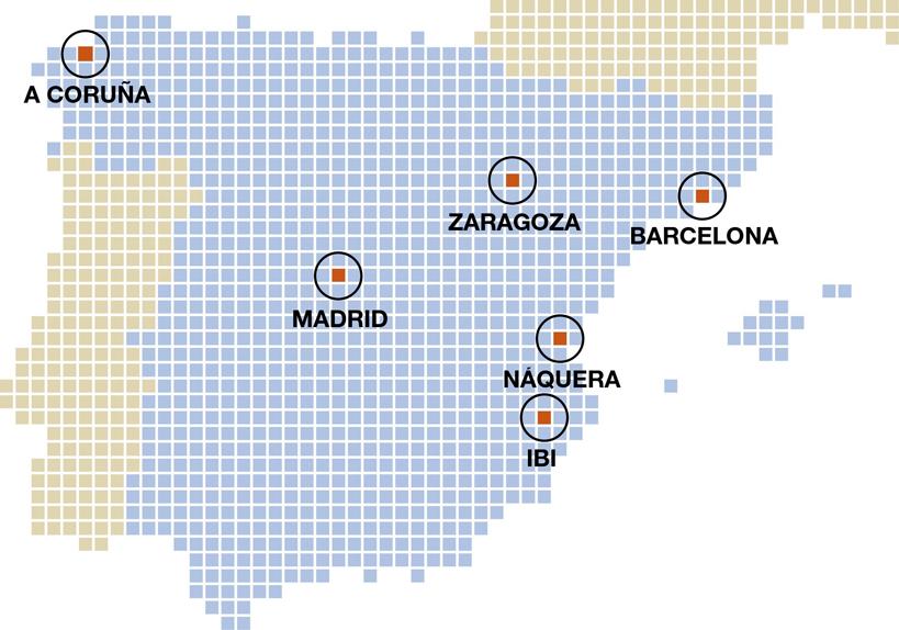 Alicante, Valencia, Madrid, Barcelona, Zaragoza, Coruña, Ibi, Alcoy, Náquera, Ribarroja, Arteixo, Comunidad Valenciana, Galicia, Cataluña, Aragón, España